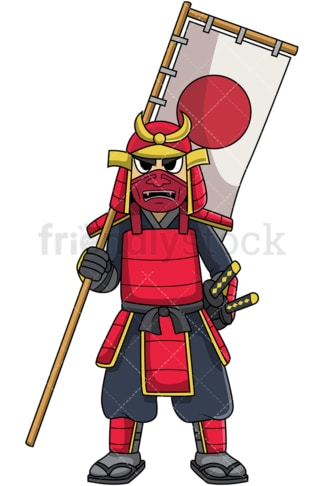 Samurai in armor holding flag. PNG - JPG and vector EPS file formats (infinitely scalable). Image isolated on transparent background.