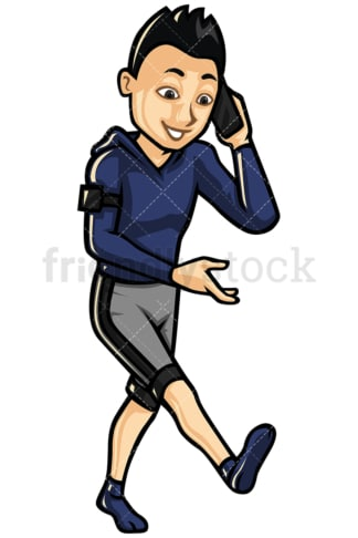 Walking asian man speaking on mobile - Image isolated on white background. Transparent PNG and vector (infinitely scalable) EPS