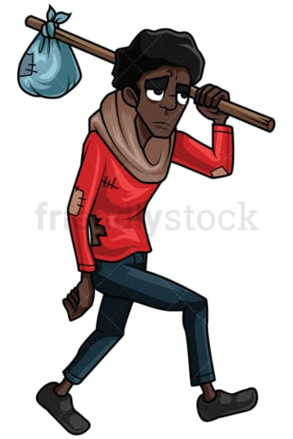 Wandering homeless black man. PNG - JPG and vector EPS file formats (infinitely scalable). Image isolated on transparent background.
