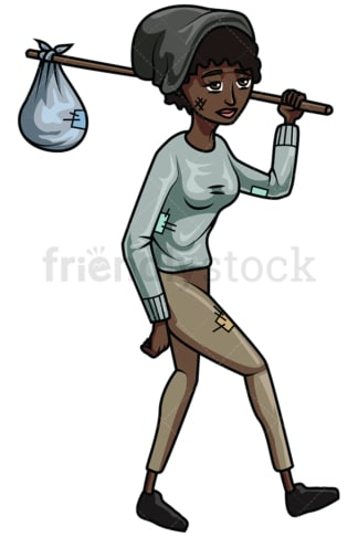 Wandering homeless black woman. PNG - JPG and vector EPS file formats (infinitely scalable). Image isolated on transparent background.