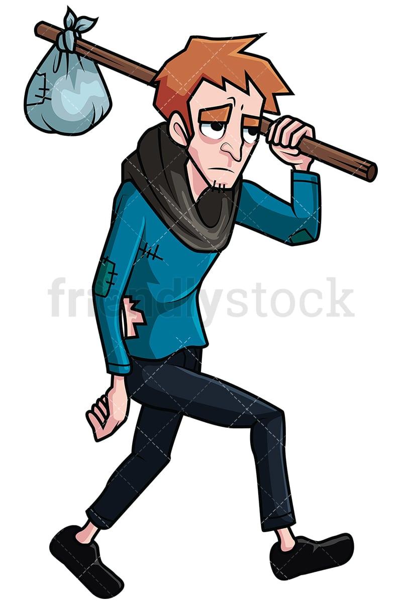 Wandering Homeless Man Vector Cartoon Clipart - FriendlyStock