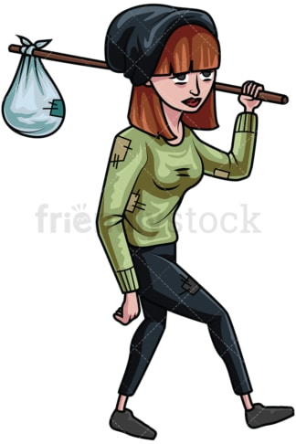 Wandering homeless woman. PNG - JPG and vector EPS file formats (infinitely scalable). Image isolated on transparent background.