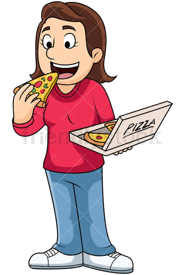 Woman eating pizza - Image isolated on transparent background. PNG