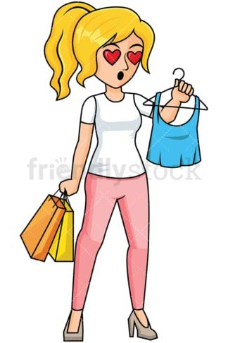 Woman in love with t-shirt while shopping - Image isolated on transparent background. PNG