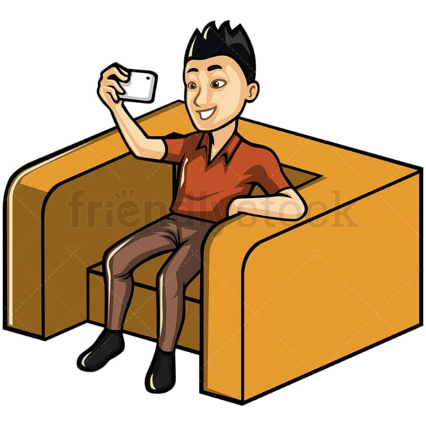 Asian man taking selfie with his phone - Image isolated on white background. Transparent PNG and vector (infinitely scalable) EPS