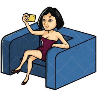 Asian woman taking selfie on an armchair - Image isolated on white background. Transparent PNG and vector (infinitely scalable) EPS
