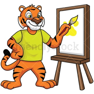 Bengal tiger mascot painting on canvas - Image isolated on white background. Transparent PNG and vector (infinitely scalable) EPS