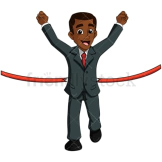 Black business man at finish line - Image isolated on transparent background. PNG