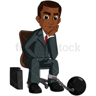 Black business man stuck and chained - Image isolated on transparent background. PNG