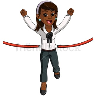 Black business woman finish line - Image isolated on transparent background. PNG