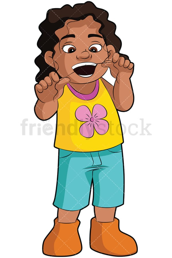 Black girl flossing her teeth - Image isolated on transparent background. PNG