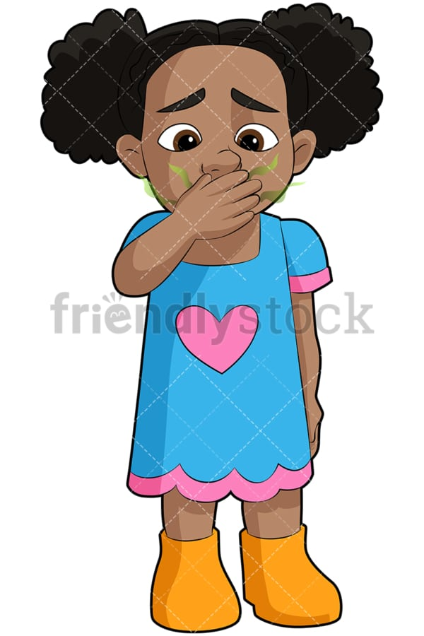 Black girl with bad breath - Image isolated on transparent background. PNG