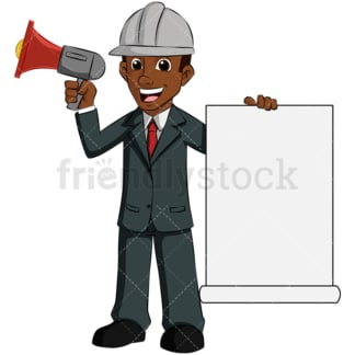 Black man holding megaphone loud speaker - Image isolated on transparent background. PNG