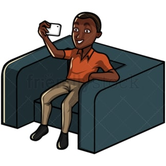 Black man taking selfie with his phone - Image isolated on white background. Transparent PNG and vector (infinitely scalable) EPS