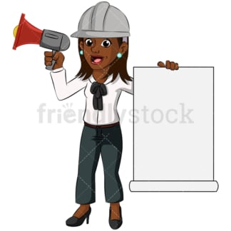 Black woman megaphone loud speaker - Image isolated on transparent background. PNG
