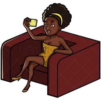 Black woman taking selfie on an armchair - Image isolated on white background. Transparent PNG and vector (infinitely scalable) EPS