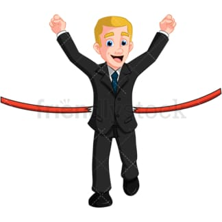 Business man first at finish line - Image isolated on transparent background. PNG