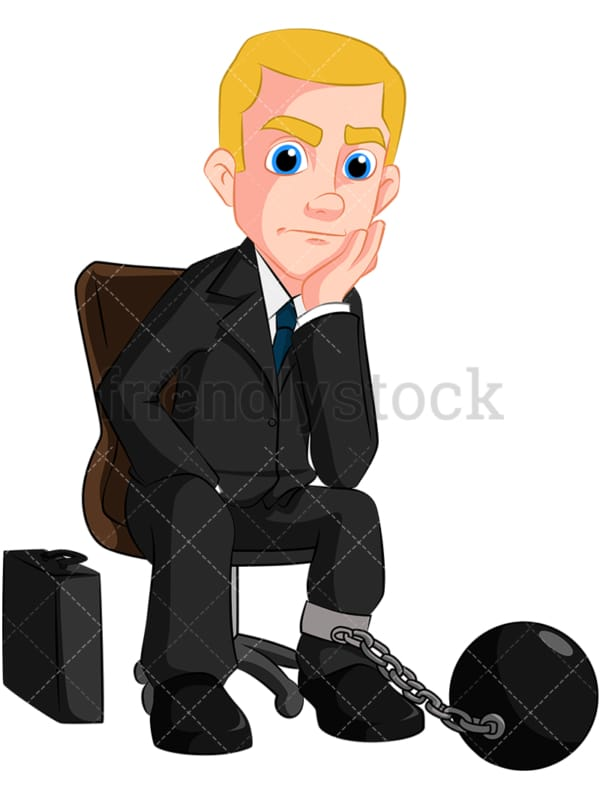 Business man stuck to ball and chain - Image isolated on transparent background. PNG