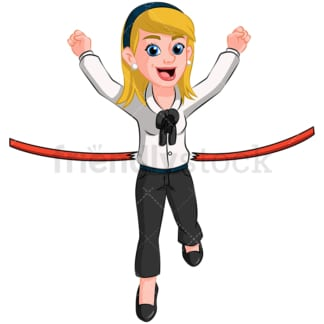 Business woman first at finish line - Image isolated on transparent background. PNG