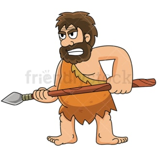 Caveman on guard with his spear - Image isolated on white background. Transparent PNG and vector (infinitely scalable) EPS