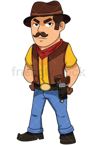 Confident cowboy with pistol in holster - Image isolated on white background. Transparent PNG and vector (infinitely scalable) EPS