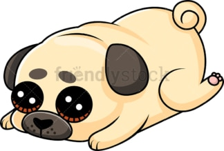 Sad pug puppy laying down feeling guilty. PNG - JPG and vector EPS (infinitely scalable).