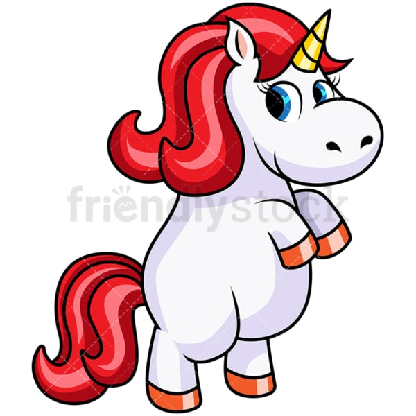 Cute unicorn on hind legs galloping. PNG - JPG and vector EPS file formats (infinitely scalable). Image isolated on transparent background.