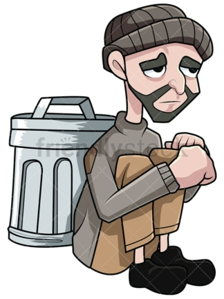Destitute man near trash bin. PNG - JPG and vector EPS file formats (infinitely scalable). Image isolated on transparent background.