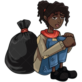 Homeless black woman near trash. PNG - JPG and vector EPS file formats (infinitely scalable). Image isolated on transparent background.