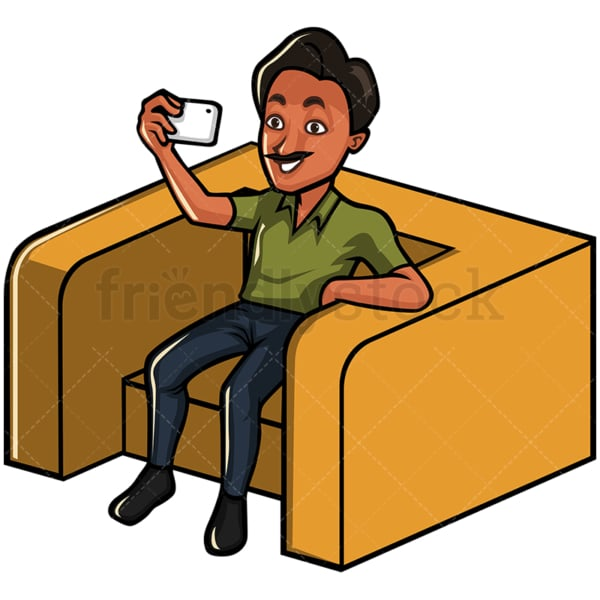 Indian man taking selfie with his phone - Image isolated on white background. Transparent PNG and vector (infinitely scalable) EPS