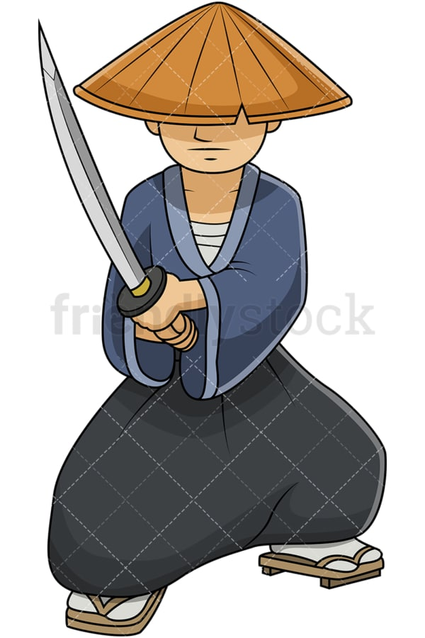 Japanese samurai wearing straw hat. PNG - JPG and vector EPS file formats (infinitely scalable). Image isolated on transparent background.