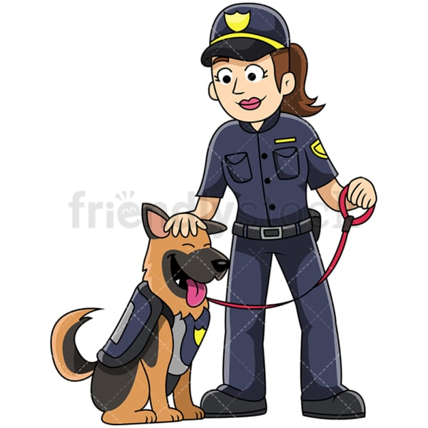 K9 female police officer petting dog - Image isolated on transparent background. PNG