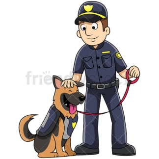 K9 male police officer petting dog - Image isolated on transparent background. PNG