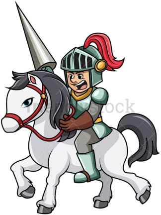 Knight charging with horse. PNG - JPG and vector EPS file formats (infinitely scalable). Image isolated on transparent background.