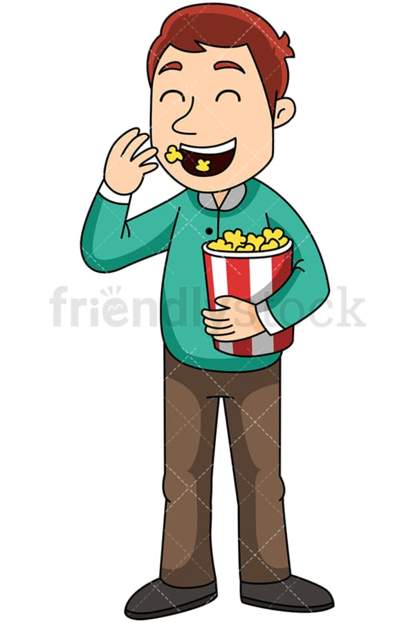 Man eating pop corn - Image isolated on transparent background. PNG
