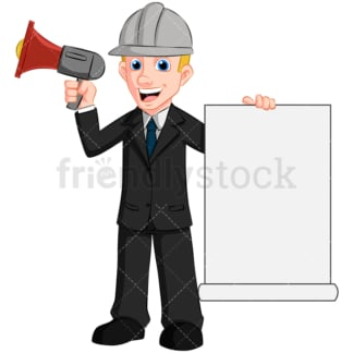 Man holding megaphone loud speaker - Image isolated on transparent background. PNG