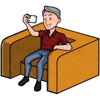 Mature man taking selfie with his phone - Image isolated on white background. Transparent PNG and vector (infinitely scalable) EPS, PDF.
