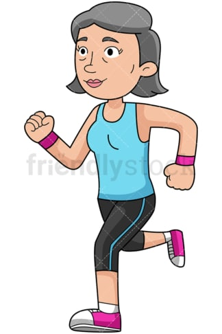 Mature woman doing her running workout - Image isolated on transparent background. PNG