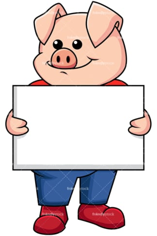 Pig holding empty sign - Image isolated on transparent background. PNG