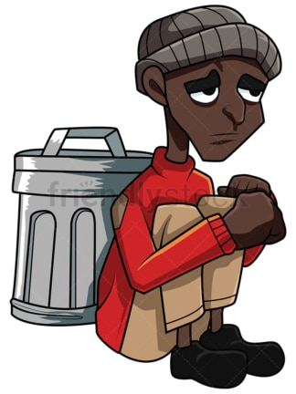 Poor black man sitting near trash. PNG - JPG and vector EPS file formats (infinitely scalable). Image isolated on transparent background.