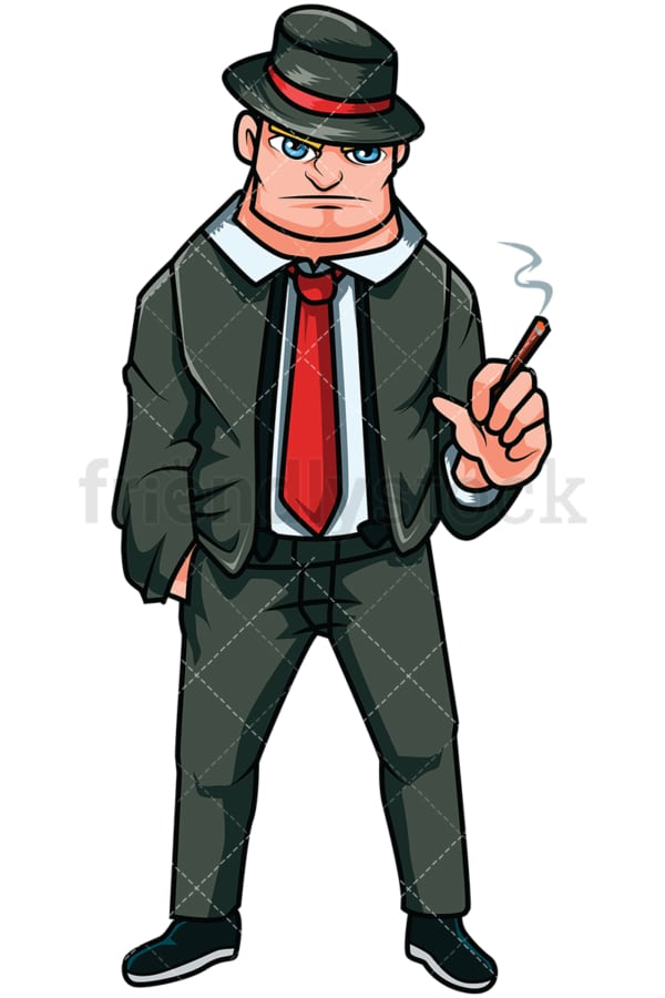 Russian mobster smoking cigarette - Image isolated on transparent background. PNG