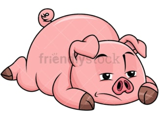 Sad pig lying on the ground bored - Image isolated on transparent background. PNG