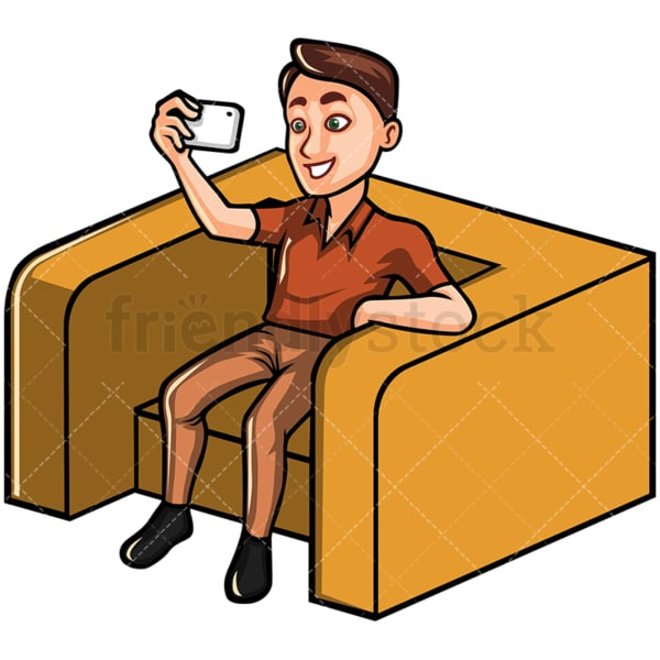Seated man taking selfie with his phone - Image isolated on white background. Transparent PNG and vector (infinitely scalable) EPS