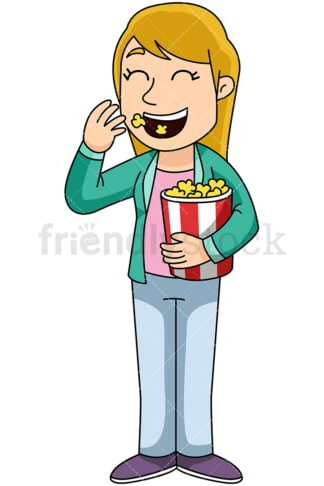 Woman eating popcorn - Image isolated on transparent background. PNG