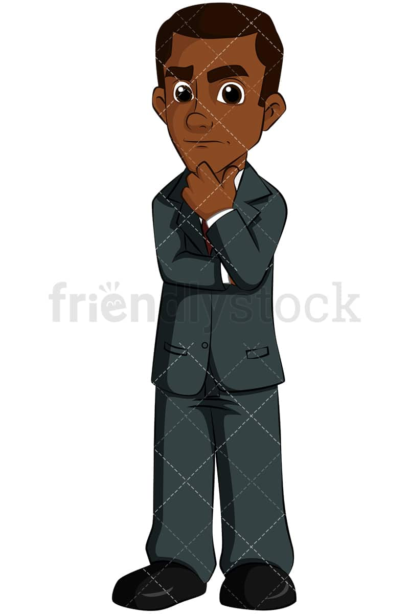 worried black business man thinking vector cartoon clipart Image of a Worried Businessman Worried Businessman On Phone