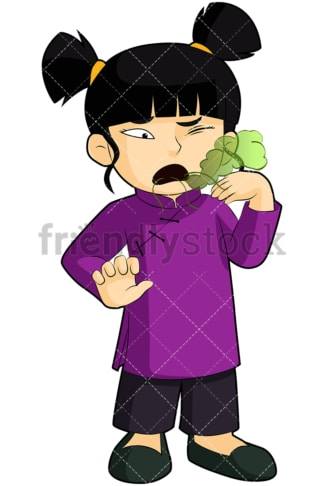 Asian girl with bad morning breath - Image isolated on transparent background. PNG