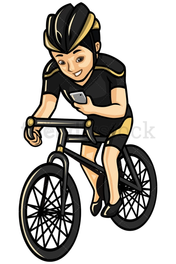 Asian man texting while riding a bike - Image isolated on white background. Transparent PNG and vector (infinitely scalable) EPS
