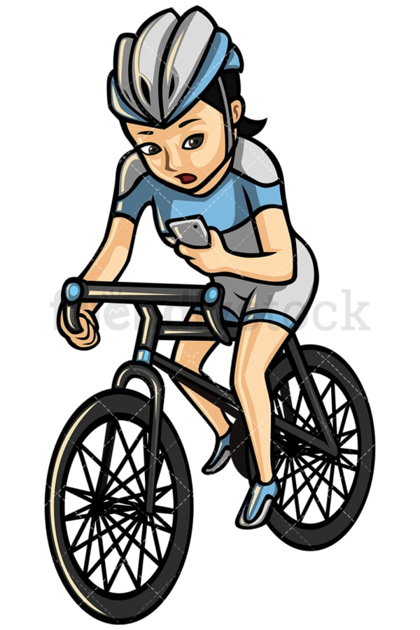 Asian woman texting while riding a bike - Image isolated on white background. Transparent PNG and vector (infinitely scalable) EPS