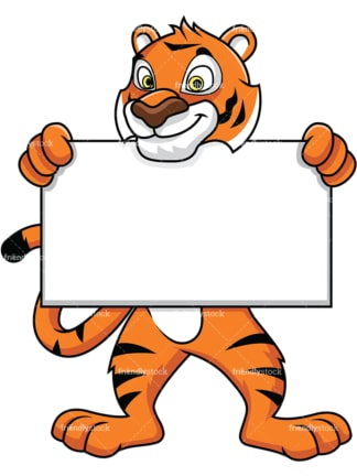 Bengal tiger mascot holding empty sign - Image isolated on white background. Transparent PNG and vector (infinitely scalable) EPS