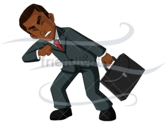 Black business man fighting windstorm - Image isolated on transparent background. PNG
